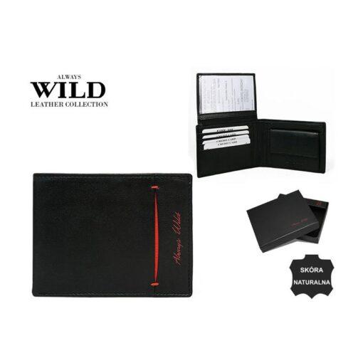 Skórzany portfel męski poziomy czarny Always Wild