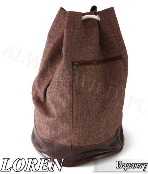 Plecak worek materiałowy brązowy
