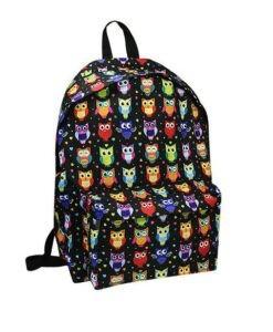 Plecak materiałowy młodzieżowy damski w sowy