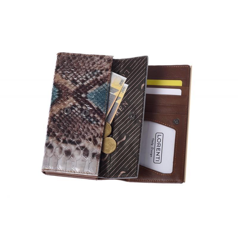 f1b38b76289ec Produkt już jest na liście życzeń! Przeglądaj listę życzeń · portfel-damski-skorzany-64003-drk.  Portfel damski skórzany skóra węża Lorenti