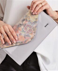 Kopertówka pastelowa w kwiaty skóra ekologiczna