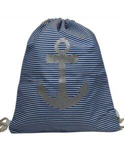 Plecak worek w paski z brokatową kotwicą