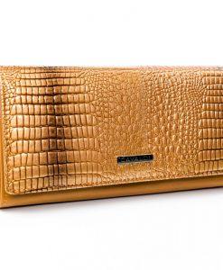 portfel damski skórzany złoty